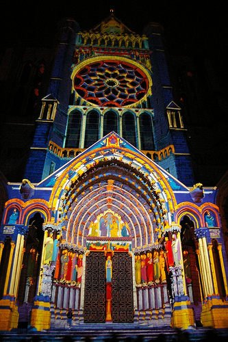 Chartres illuminated.